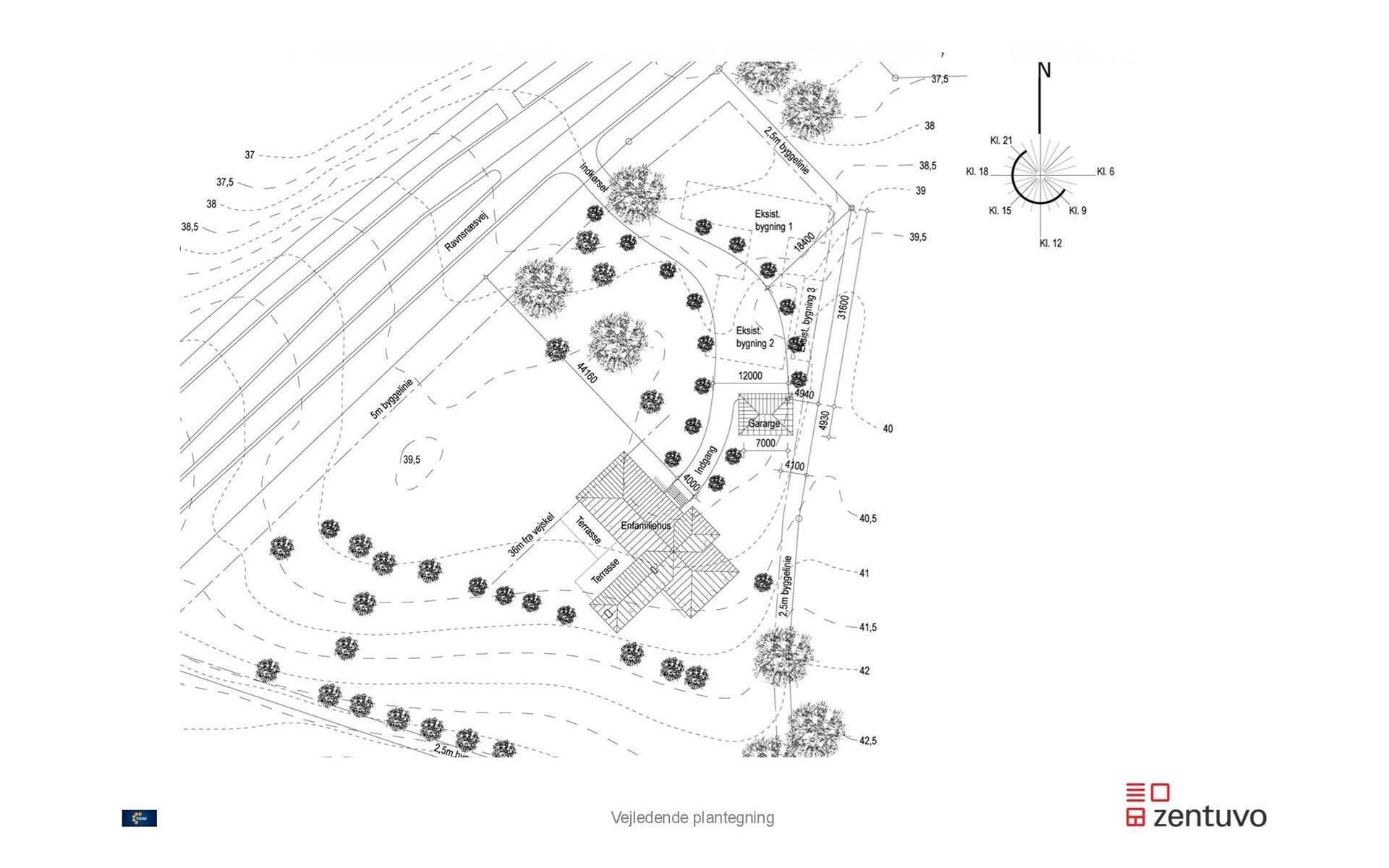 Helårsgrund på Ravnsnæsvej i Birkerød - Plantegning