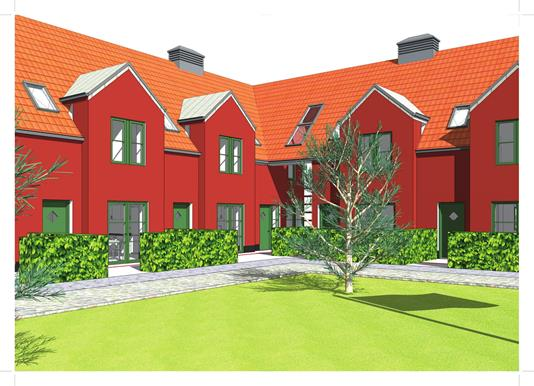 Rækkehus på Rikkeshave i Odense SV - Facade