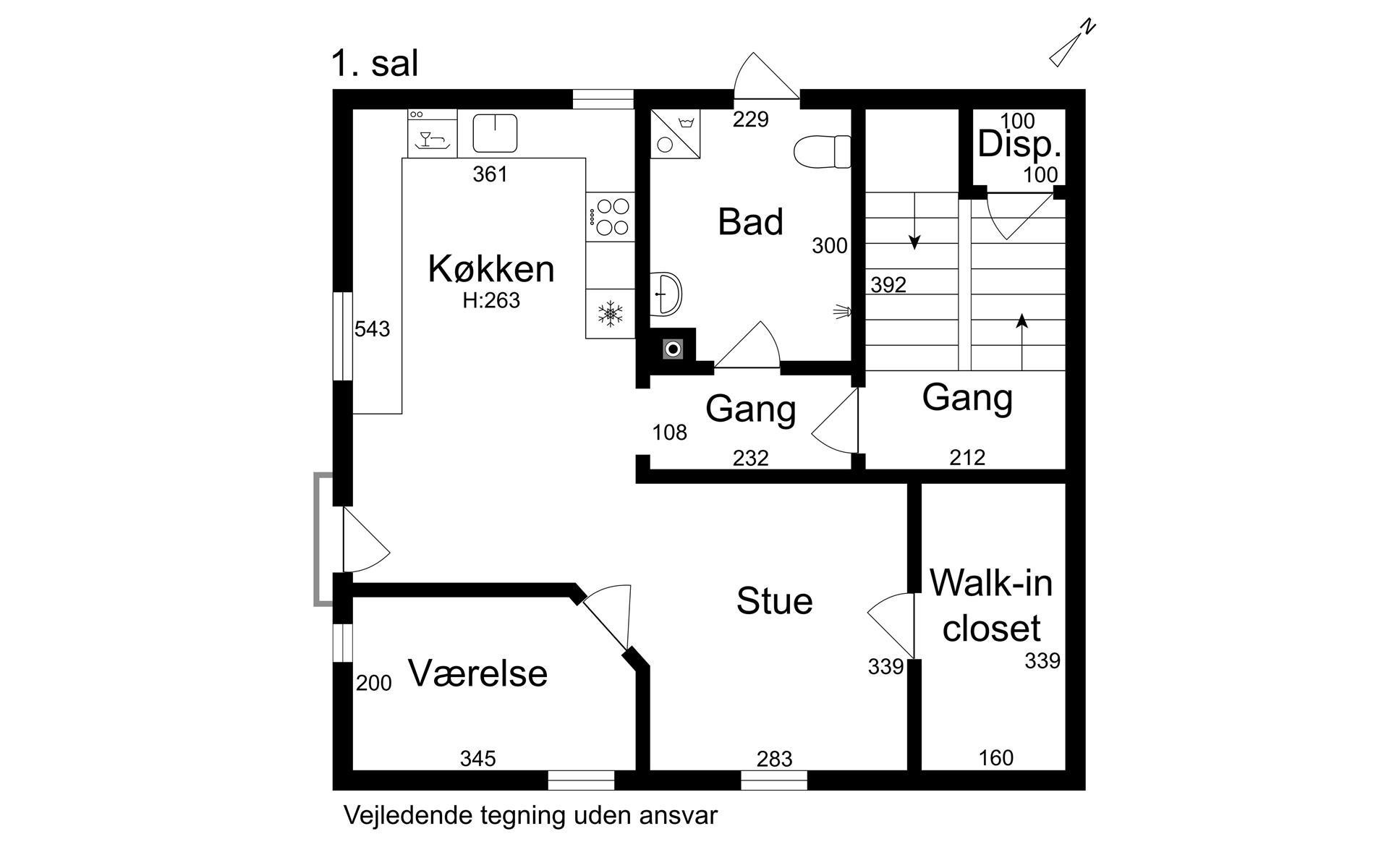 Villalejlighed på Carl Langes Vej i Valby - 1. sal