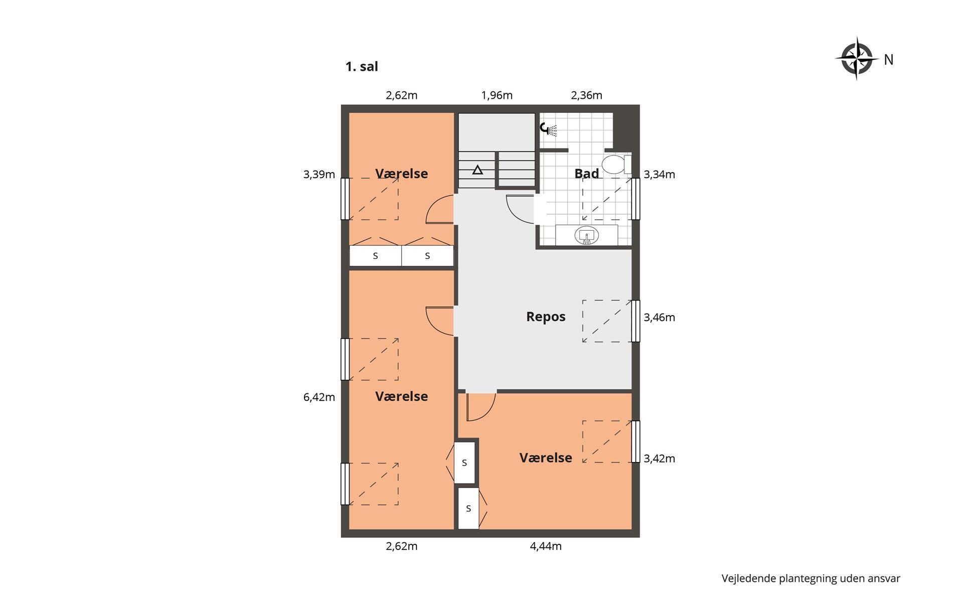 Rækkehus på Nøglens Kvarter i Odense SØ - Plantegning
