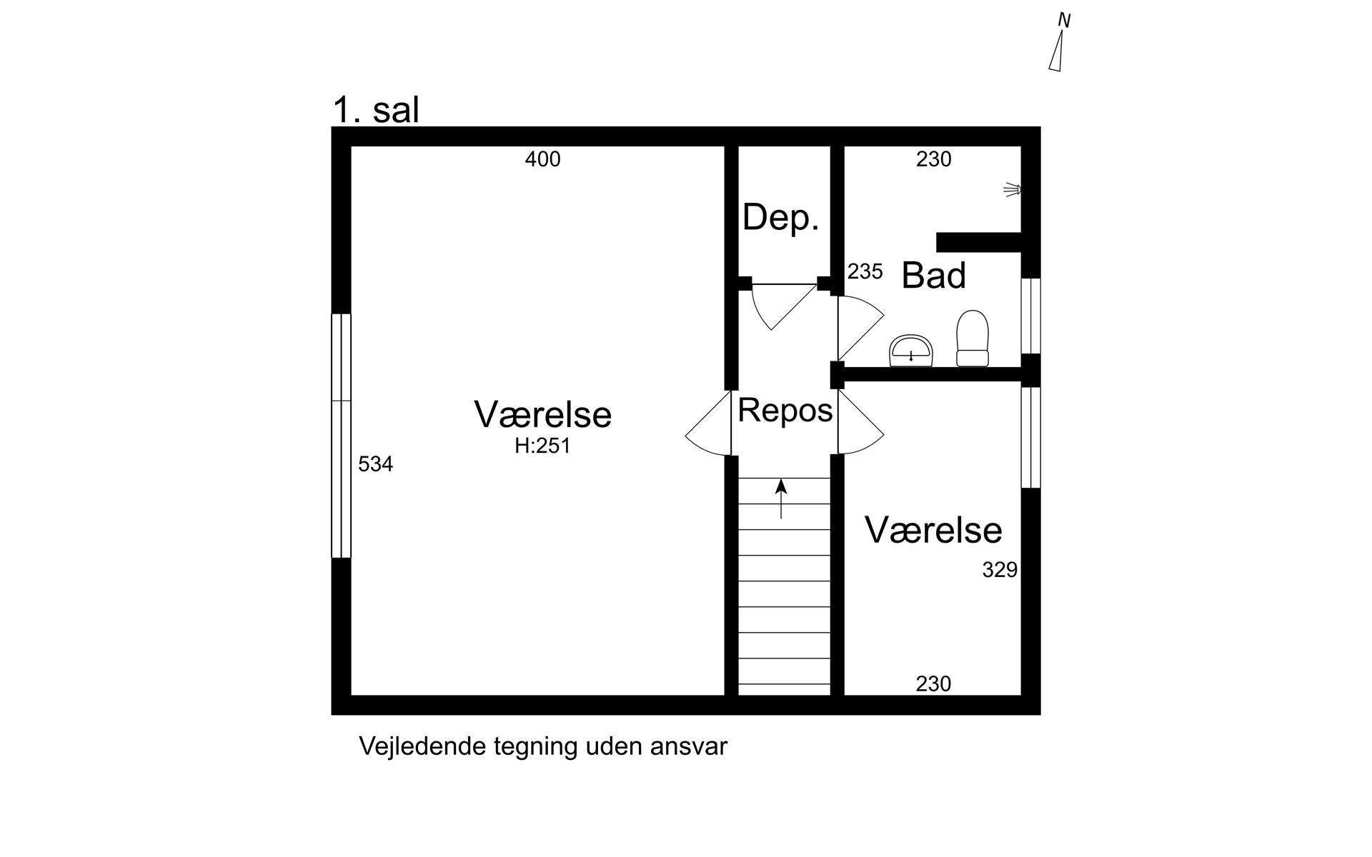 Rækkehus på Amundsensvej i Kongens Lyngby - 1. sal