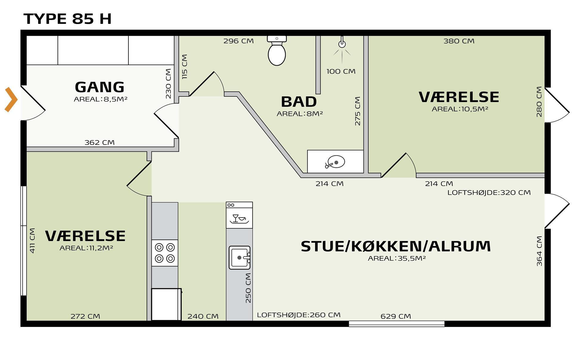 Rækkehus på Græsgangen i Ringsted - Plantegning